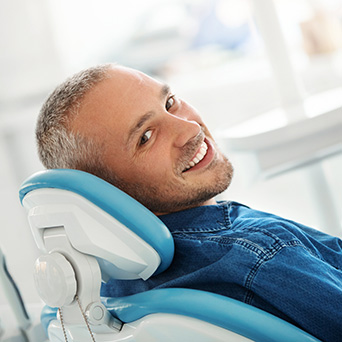 Relaxed man at dentist